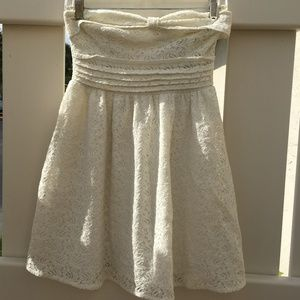 American Rag Cie Cream Strapless Lace Dress SZ S